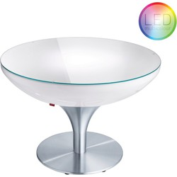 Moree - Ronde Salontafel Lounge - Hoogte 55 Cm LED Accu Outdoor - Wit