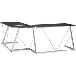 24Designs Hoekbureau Lexton - 180x180x75 - Zwart Glas - Metalen Onderstel