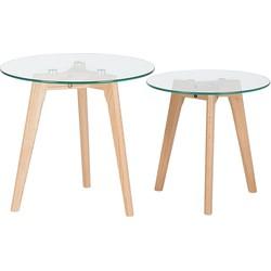 Salontafel, bijzettafel, woonkamertafel, glazen tafel, tafel, 2 stuks, MISSOURI
