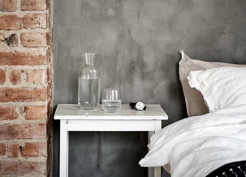 Inspiratie: zwarte muur met textuur in de slaapkamer