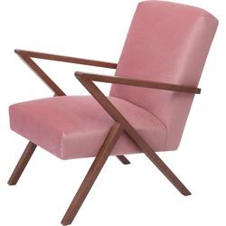 Sternzeit Retro Fauteuil Velvet Vintage Pink