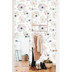 Vliesbehang Bloemenprint pastel  122x122 cm