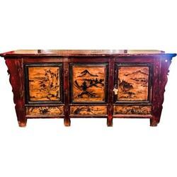 Fine Asianliving Antieke Chinese Dressoir Mongolia Handbeschilderd