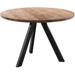 Eettafel - rond dia 120cm - 38mm dik massief acacia blad - 3-poots kruisframe - zwart geschuurd RVS
