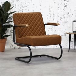 Industriële fauteuil Mustang vintage cognac