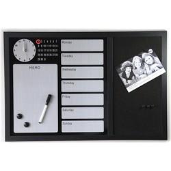 Vestbjerg Magneetbord met Klok - Zwart Kurk