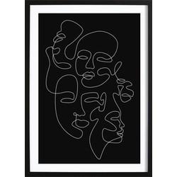 Abstracte Vrouwen Gezichten Poster (21x29,7cm)