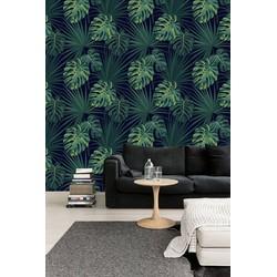 Vliesbehang Tropisch blad groen zwart  122x122 cm