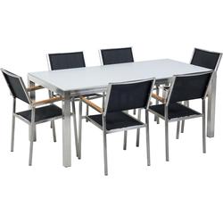 Tuinset glas/RVS wit enkel tafelblad 180 x 90 cm met 6 stoelen zwart GROSSETO