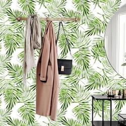 Vliesbehang Palmblad groen wit 2  122x122 cm