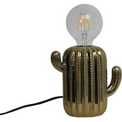 Cactus Lamp-15x16cm-Incl. gloeilamp-Keramiek-Goud-Housevitamin