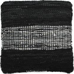 Sierkussen Almina 45x45 cm black - 100% Gerecycled leer