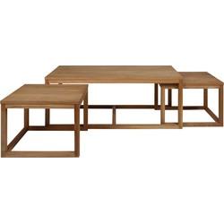 24Designs Set 3 Salontafel Valda - 120x60x50 - Eiken