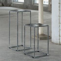 Bloemenzuil 70cm met zand gegoten metalen blad en vintage stalen frame. / Zwart Nikkel