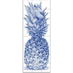 Ananas met vogel in gravure stijl 8x3 blauw