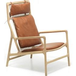 Dedo Lounge Chair - Houten loungestoel - Whitewash - Leren zitting - Whisky