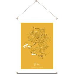 Geboorteposter Textielposter Plattegrond geboorteplaats – Geel Kraamcadeau - 30 x 45 cm