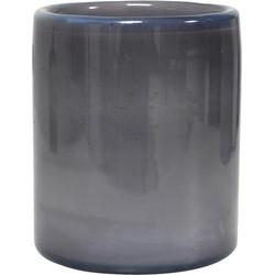 HK-living waxinelichthouder grijs wolken glas 9x9x11 cm handgeblazen