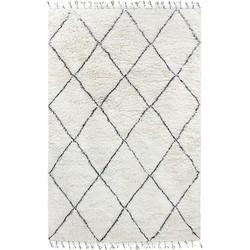 HKliving vloerkleed berber zwart wit wol 200x300cm
