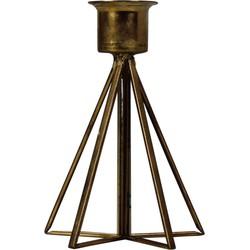 Kandelaar met Glas-7x11cm-Incl. 5 witte kaarsen-Metaal-Goud-Housevitamin
