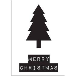 Merry Christmas - Kerstboom - Kerst Poster - Tekst poster - Zwart Wit poster - A2 + Fotolijst wit