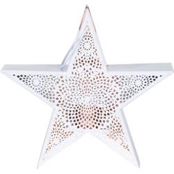 Windlicht Star witkoper 24x8x24cm, metaal met metalen handvat
