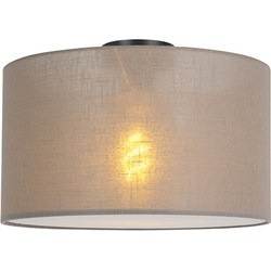 Modern Ceiling Lamp Black with 35cm Taupe Shade - Combi