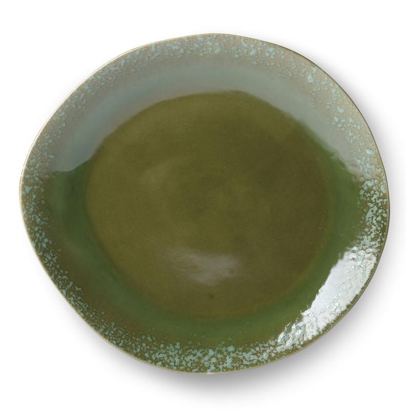 HK-living bord, dinerbord keramiek groen seventies style Ø 29 cm  -