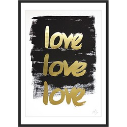 Kortkartellet Handwritten Poster TRIPLE LOVE Limited Edition Goud - 40 x 55 cm