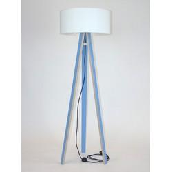 Lamp Wanda blauw multiplex met witte kap en zwarte kabel