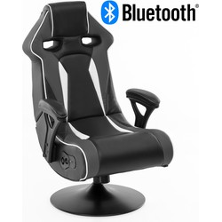 24Designs Silverstone - Racestoel Gamestoel Rocker - Bluetooth & Speakers - Zwart / Grijs