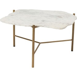 Kare Design Piedra Salontafel - 75x71x37cm - Wit Marmeren Tafelblad - Goud Onderstel