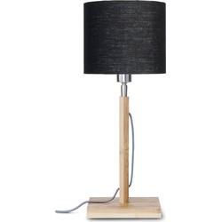 Tafellamp Fuji bamboe, linnen zwart