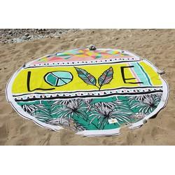 Mycha Ibiza – roundie - rond strandlaken – 100% katoen – cala love – lime