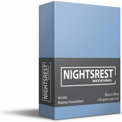 Nightsrest Jersey Hoeslaken - Blauw Maat: 1-Persoons (80/90x200cm)