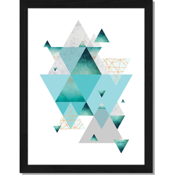 Blue Triangles - Fotoprint in houten frame - 30 X 40 X 2,5 cm