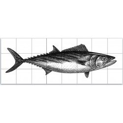 Tegeltableau - Tonijn gravure stijl 3x8