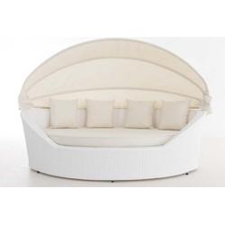 24Designs Ovaal Lounge Ligbed Santorini - Wit Vlechtwerk - Crème Witte Kussens
