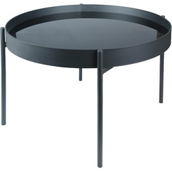 Home Delight salontafel kadro glas metaal zwart 65Ø