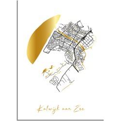 Katwijk aan Zee Plattegrond Stadskaart poster met goudfolie bedrukking - A2 + Fotolijst zwart