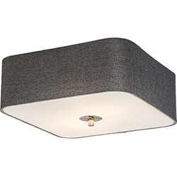 Ceiling Lamp Drum Deluxe 30 Square Jute Grey