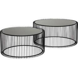 Kare Design Wire - Set Van 2 Salontafels - Zwart Glazen Tafelblad