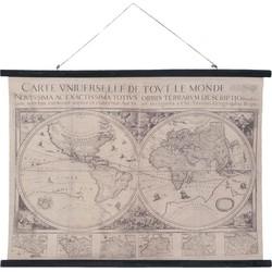 Wandkaart wereld 105x2x76 cm