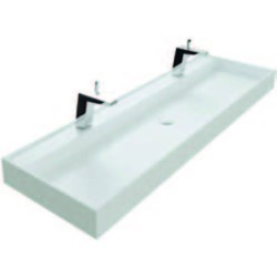 Thebalux Snow wastafel Solid Surface 2 kraangaten 140,2x45x10cm Mat wit