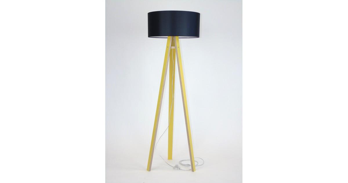 Lamp Wanda geel multiplex met zwarte kap en transparante kabel