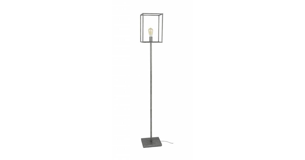 Cube - Vloerlamp - stalen frame - vierkant - oud zilver - 1 lichtpunt