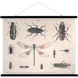 HK-living schoolplaat insecten geprint katoen XL 105x85x2,5cm