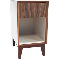 PIX nachtkastje groot met wit frame en houten voorkant