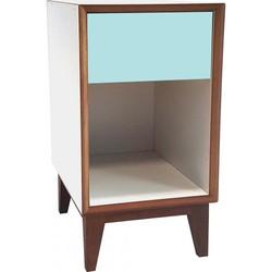 PIX nachtkastje groot met wit frame en licht turquoise voorkant