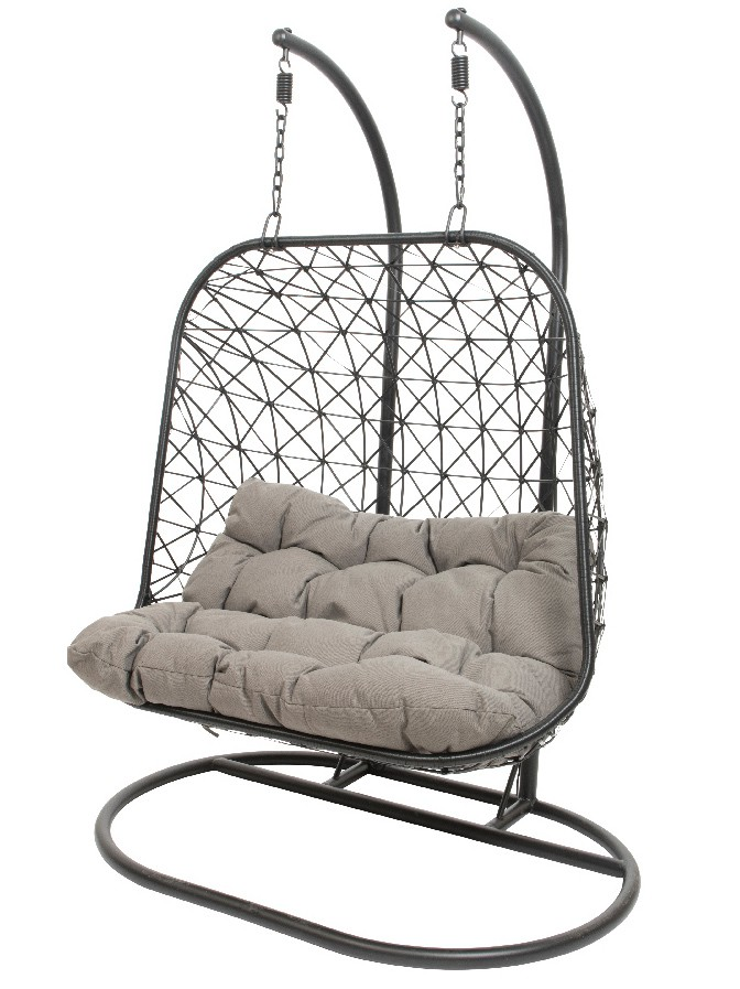 Swing Egg Stoel.24designs Relax Hangstoel Maui 2 Persoons Egg Chair Zwart